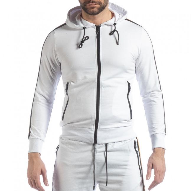 16bd206b28c Ανδρική λευκή ζακέτα 5 striped it040219-103 - Fashionmix.gr
