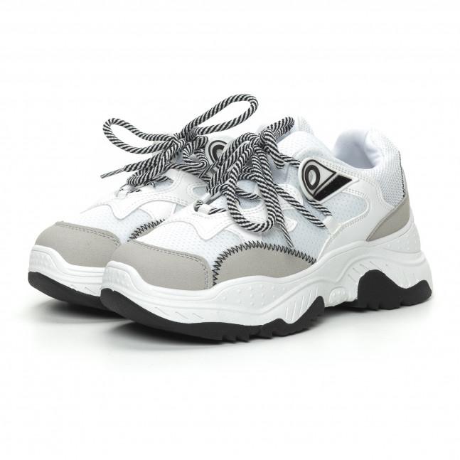 35c8b471afe ... Γυναικεία αθλητικά παπούτσια σε λευκό και γκρι χρώμα it150319-59 3 ...