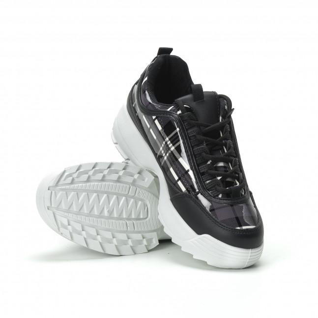 ... Γυναικεία μαύρα καρέ sneakers με Chunky πλατφόρμα it250119-54 4 e33a4045ce8