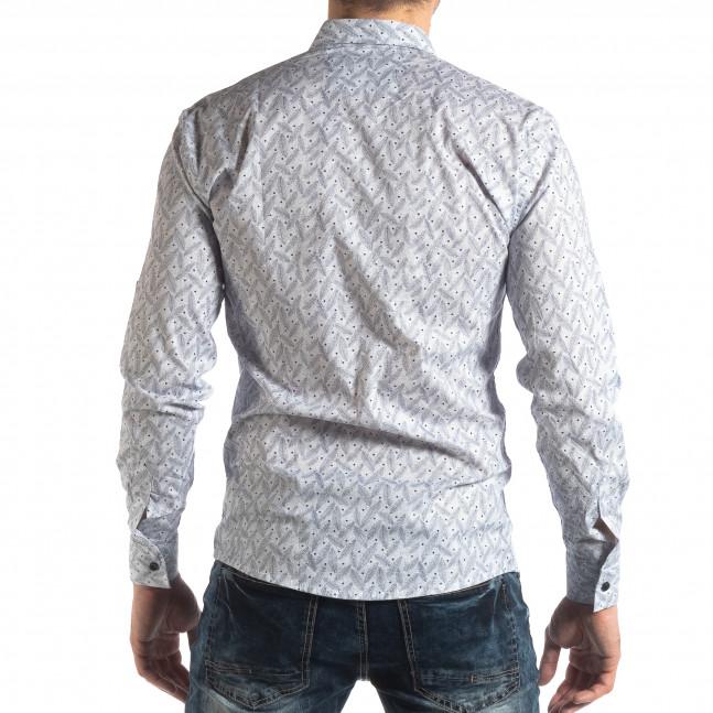 c44f5f09bf9e ... Ανδρικό λευκό Slim fit πουκάμισο με μοτίβο φύλλα it210319-99 3