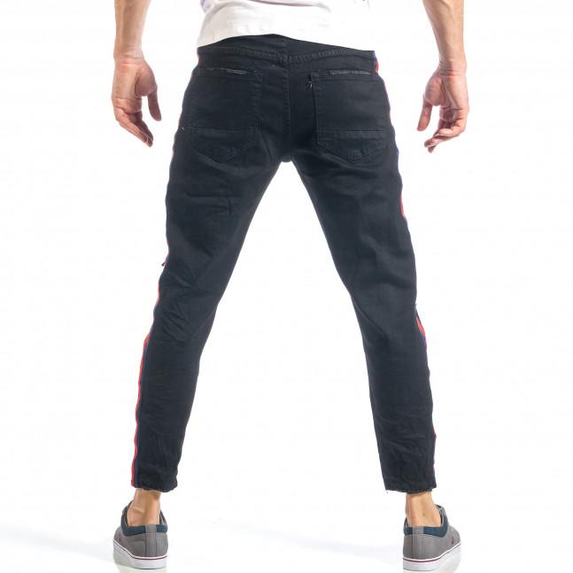 ... Ανδρικό μαύρο τζιν με σκισίματα και κόκκινο και μπλε ριγέ it040518-6 4 bb7f681089d
