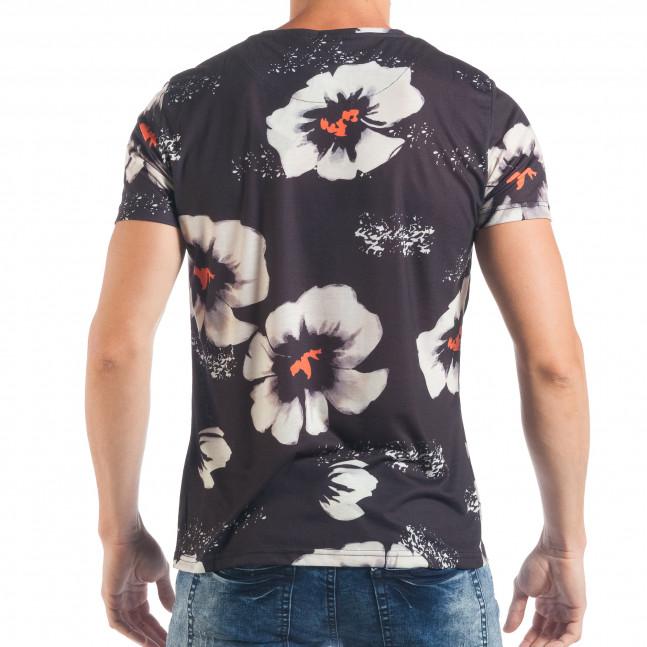 ... Ανδρική σκούρα μπλε κοντομάνικη μπλούζα με λευκά λουλούδια tsf250518-52  3 677e02ac907