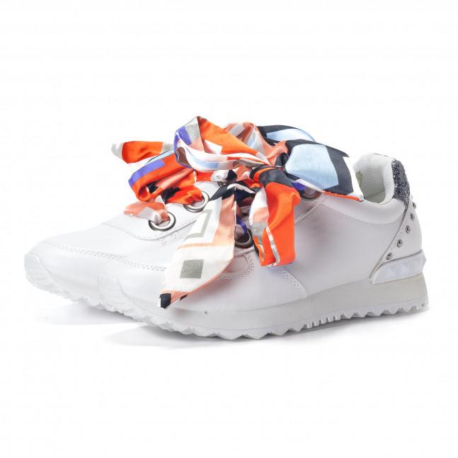 718a8cbcfdc3 ... Γυναικεία λευκά αθλητικά παπούτσια από οικολογικό δέρμα με κορδόνια από  σατέν it240118-8 4 ...