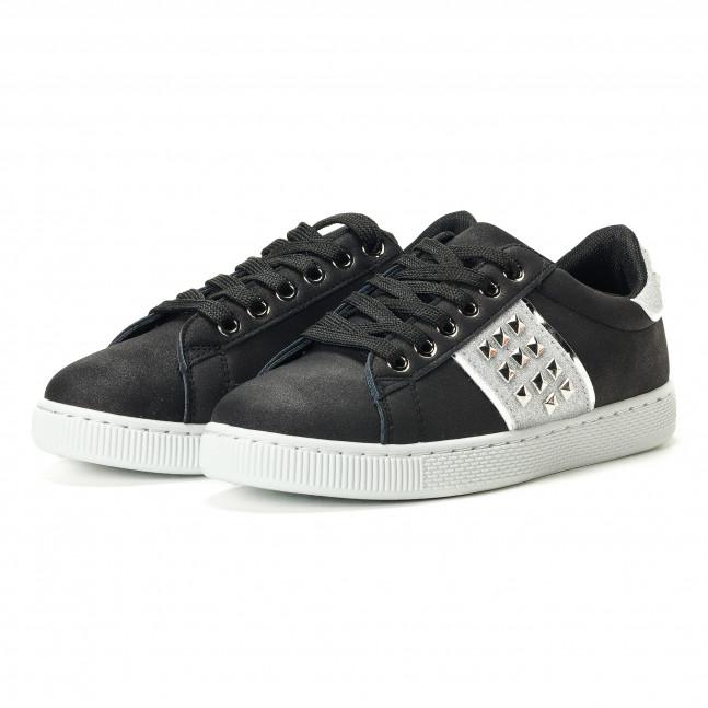 4d92ed086b0 ... Γυναικεία μαύρα υφασμάτινα sneakers με κορδόνια και ασημένιες  λεπτομέρειες it240118-38 ...