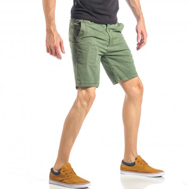 Ανδρική πράσινη βερμούδα με πουά it040518-66 - Fashionmix.gr 4ac7c3c7220