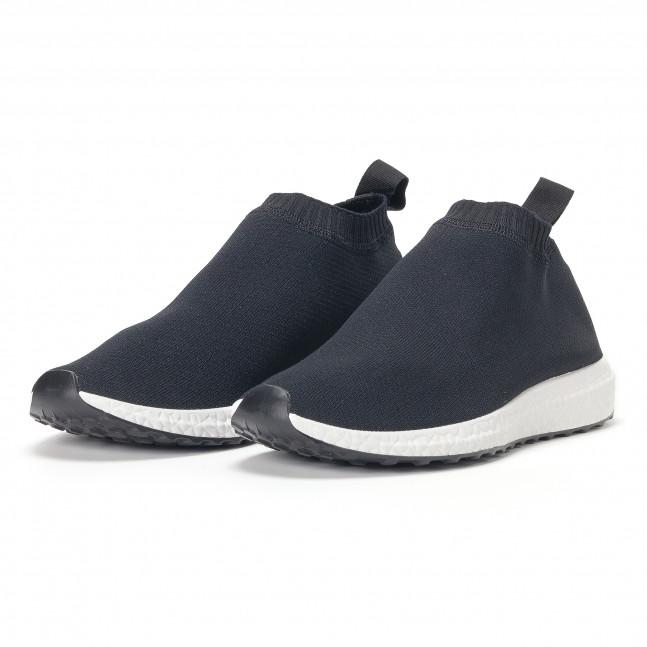 69c8ab730ed Ανδρικά μαύρα αθλητικά παπούτσια slip-on κάλτσα