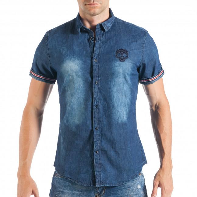 3f1093d8c723 Ανδρικό γαλάζιο τζιν κοντομάνικο πουκάμισο με κεντημένη νεκροκεφαλή  it050618-21 2 ...
