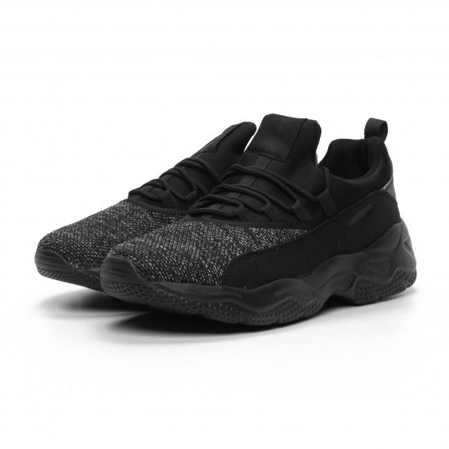909486ca73d ... 2 Ανδρικά μαύρα μελάνζ αθλητικά παπούτσια ελαφρύ μοντέλο it240419-21 3  ...