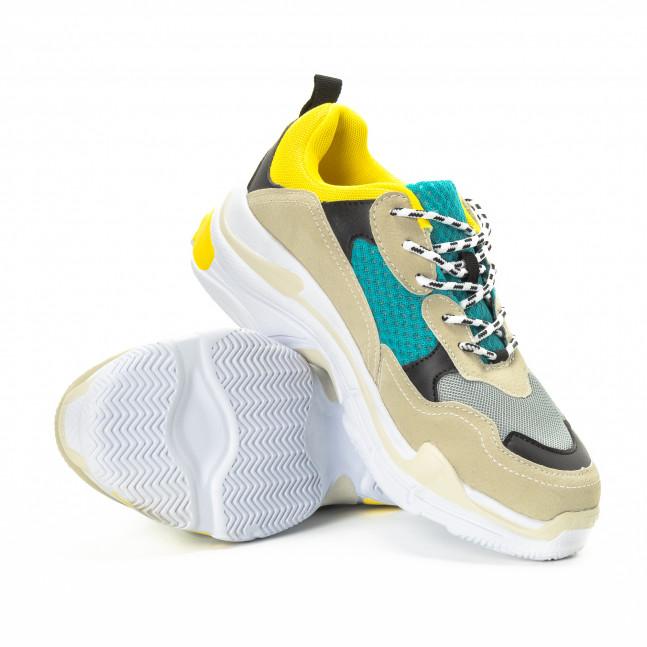 2f67958ec68 ... Ανδρικά αθλητικά παπούτσια σε κίτρινο και μπεζ με χοντρή σόλα  it221018-40 4