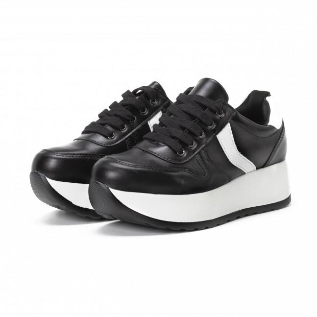 Γυναικεία ασπρόμαυρα sneakers με πλατφόρμα it150818-79 - Fashionmix.gr 07632a00ed0