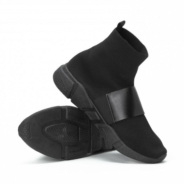... Ανδρικά μαύρα Slip-on αθλητικά παπούτσια με δερμάτινη λεπτομέρεια  it150818-2 4 ba0f10c6a17