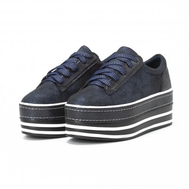 ... Γυναικεία γαλάζια sneakers με μπλε χρυσόσκονη και πλατφόρμα it150818-28  3 ... d4b20b2b7fd